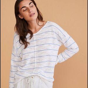 Lou & Grey Blue & White Striped V Neck Sweater XL